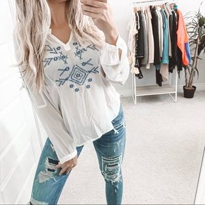 Lovers + Friends Boho Embroidered Blouse White